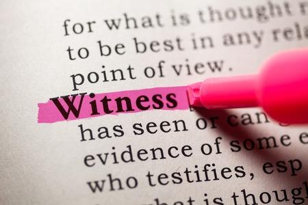 Falso dizionario, la definizione del dizionario della parola testimone