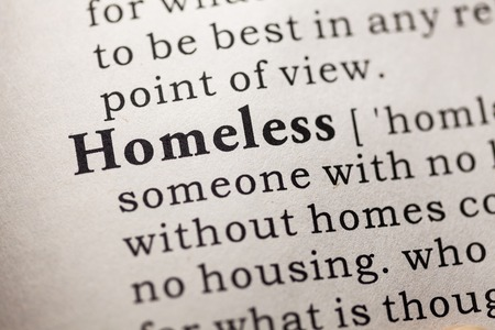 Fake Dictionary, Dictionary definition of the word homeless  Stock Photo
