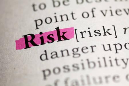 definicion: Palabra de riesgo resaltado en rojo Foto de archivo