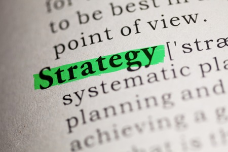 printing out: the word Strategy highlighted on green