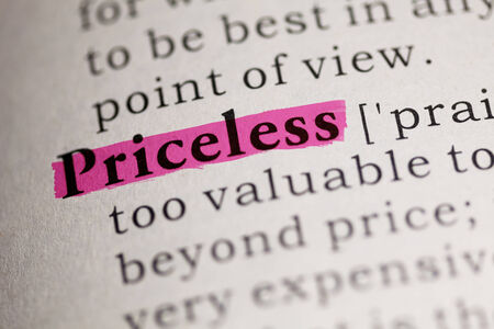 priceless: word Priceless highlighted on pink
