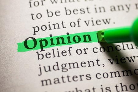 opinion: word opinion highlighted on green
