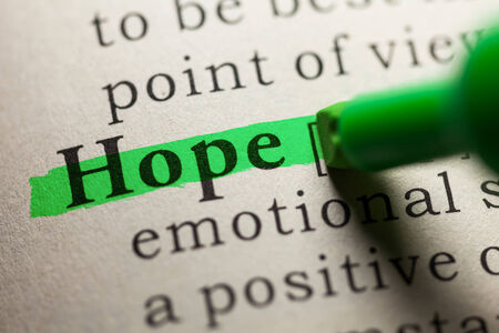hope: word hope highlighted on green