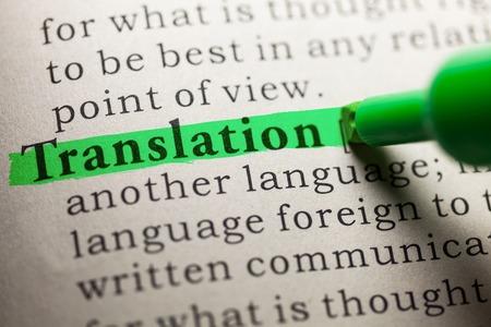 word Translation highlighted on green Archivio Fotografico