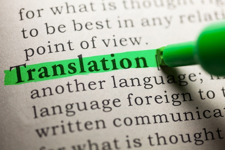 word Translation highlighted on green Stockfoto
