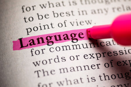 language dictionary: Fake Dictionary, definition of the word Language  Stock Photo