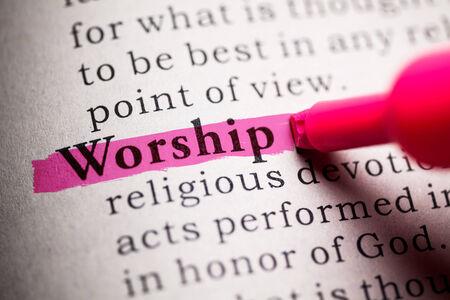 word worship highlighted on pink 版權商用圖片
