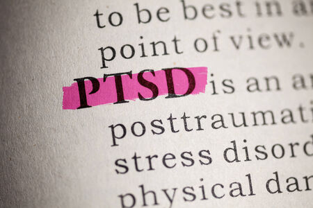 traumatic: Fake Dictionary, Dictionary definition of the word PTSD  Post Traumatic Stress Disorder  Stock Photo