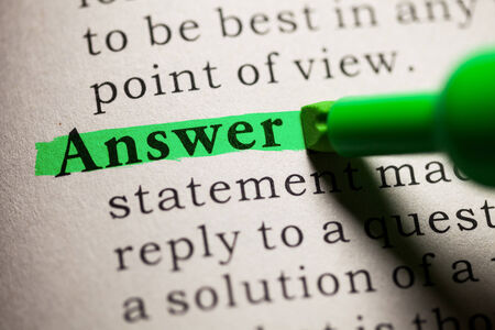 answer: Fake Dictionary, definition of the word answer  Stock Photo