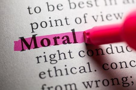 가짜 사전, 도덕적 단어의 정의 스톡 콘텐츠