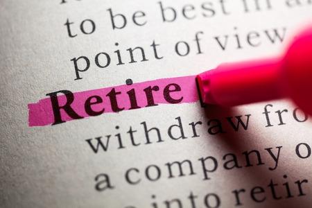 prendre sa retraite: Faux Dictionnaire, la d�finition du mot retraite