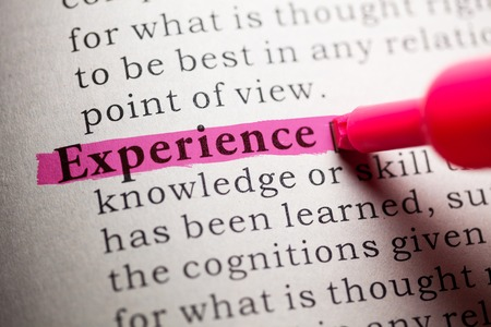 Fake Dictionary, definition of the word experience  Stock Photo