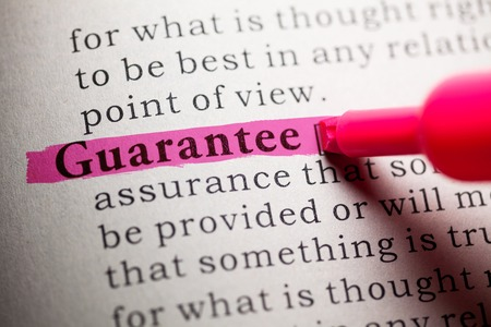 Fake Dictionary, definition of the word guarantee