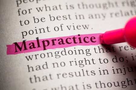 printing out: Fake Dictionary, definition of the word malpractice