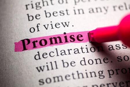 definicion: Diccionario Fake, la definición de la palabra promesa Foto de archivo