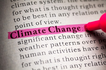 definition: Fake Dictionary, definition of the word Climate Change  Stock Photo