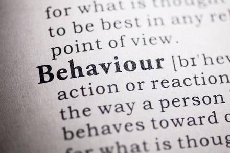 Falso Dictionary, Definizione del dizionario della parola di comportamento Archivio Fotografico - 27553945