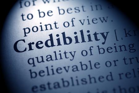 Finto dizionario, la definizione del dizionario della parola credibilità Archivio Fotografico - 27553949