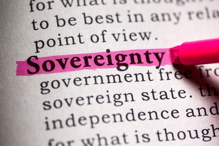 Fake Dictionary, Dictionary definition of the word sovereignty   Stock Photo
