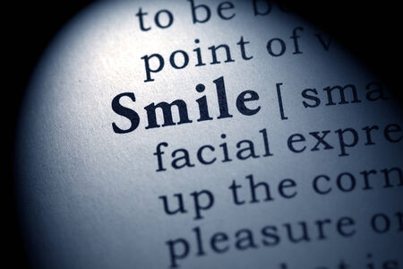 fake smile: Fake Dictionary, Dictionary definition of the word smile  Stock Photo