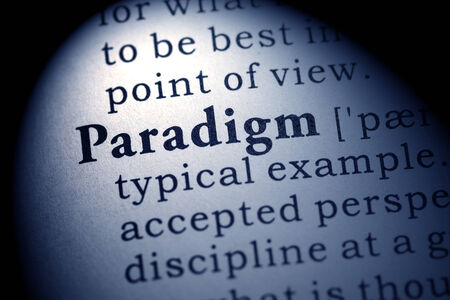 paradigm: Fake Dictionary, Dictionary definition of the word paradigm  Stock Photo