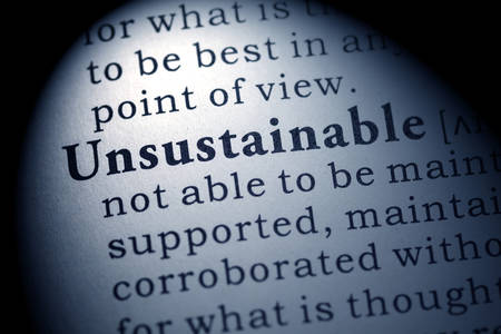unsustainable: Fake Dictionary, Dictionary definition of the word Unsustainable  Stock Photo