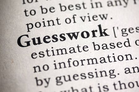 definitions: Fake Dictionary, Dictionary definition of the word guesswork. Stock Photo