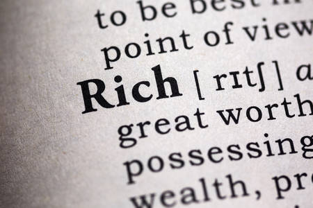 definitions: Fake Dictionary, Dictionary definition of the word rich. Stock Photo