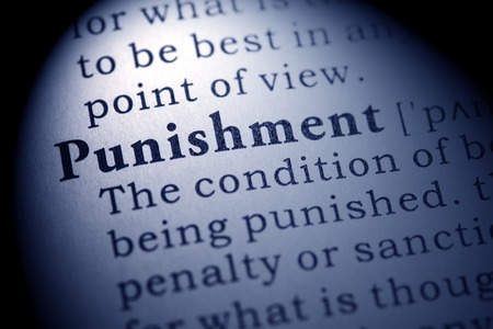 punishment: Fake Dictionary, Dictionary definition of the word punishment. Stock Photo