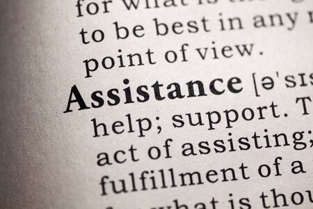 dictionary definition: Fake Dictionary, Dictionary definition of the word assistance. Stock Photo