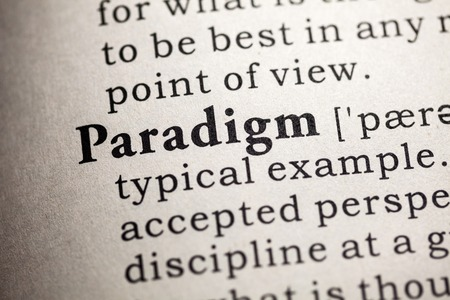 paradigm: Fake Dictionary, Dictionary definition of the word paradigm. Stock Photo