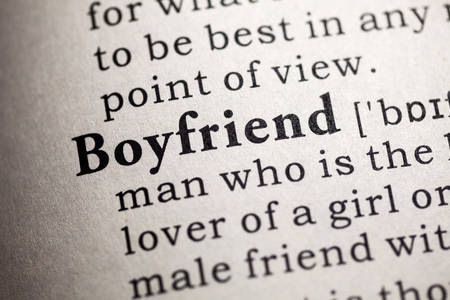 Fake Dictionary, Dictionary definition of the word boyfriend. 版權商用圖片