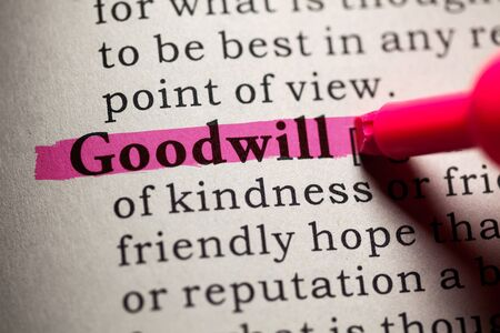 goodwill: Fake Dictionary, Dictionary definition of the word goodwill. Stock Photo