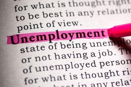 가짜 사전, 단어 실업의 사전 정의. 스톡 콘텐츠