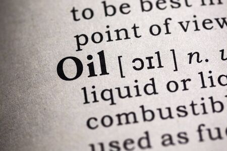 dictionary definition: Fake Dictionary, Dictionary definition of the word oil. Stock Photo