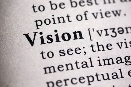 dictionary definition: Fake Dictionary, Dictionary definition of the word vision. Stock Photo
