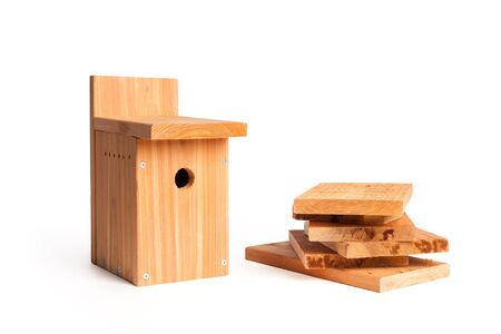 DIY wood birdhouse with white background