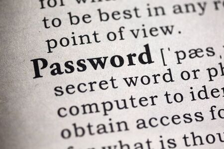definitions: Fake Dictionary, Dictionary definition of the word password. Stock Photo
