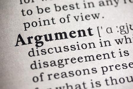 argumento: Diccionario falso, Definición del diccionario de la palabra argumento. Foto de archivo
