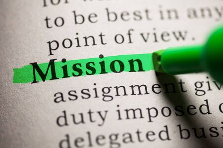 dictionary definition: Fake Dictionary, definition of the word Mission. Stock Photo