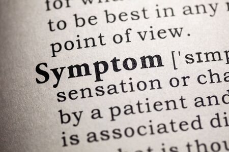 definitions: Fake Dictionary, Dictionary definition of the word symptom.