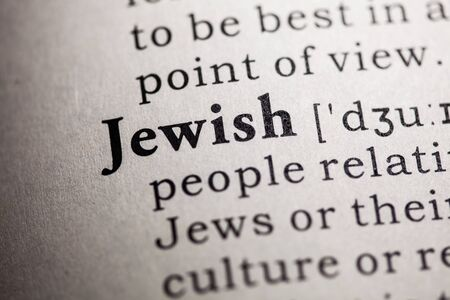 dictionary definition: Fake Dictionary, Dictionary definition of the word Jewish. Stock Photo