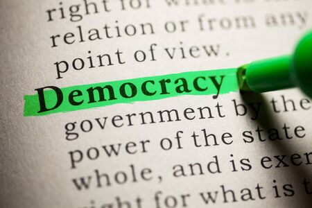 dictionary definition: Fake Dictionary, definition of the word Democracy. Stock Photo