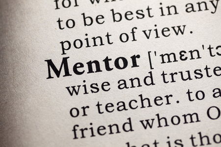 mentor: Fake Dictionary, Dictionary definition of the word mentor. Stock Photo