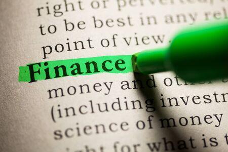 가짜 사전, 금융이라는 단어의 정의. 스톡 콘텐츠