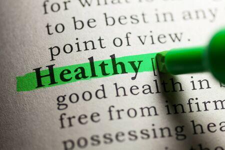 definicion: Falso diccionario, definici�n de la palabra saludable. Foto de archivo