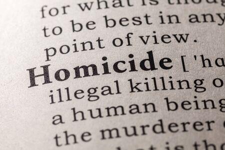 definicion: Diccionario falso, Definici�n del diccionario de la palabra homicidio Foto de archivo