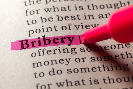 dictionary: Fake Dictionary, Dictionary definition of the word bribery Stock Photo