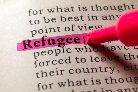 Fake woordenboek, woordenboek definitie van het woord vluchteling