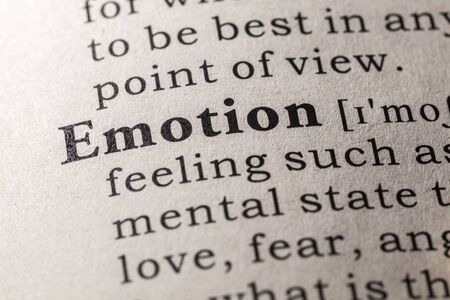 Fake Dictionary, Dictionary definition of the word emotion Stock Photo - 48655513